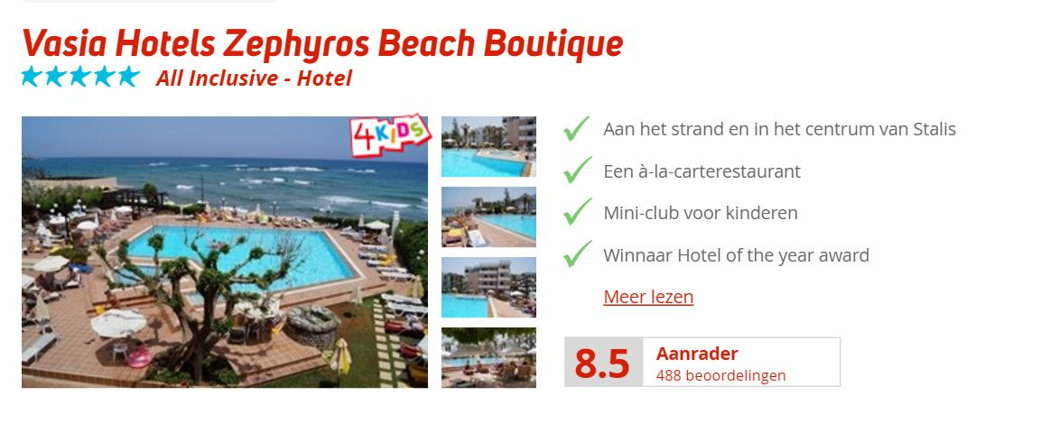 Vasia Hotels Zephyros Beach Boutique kreta