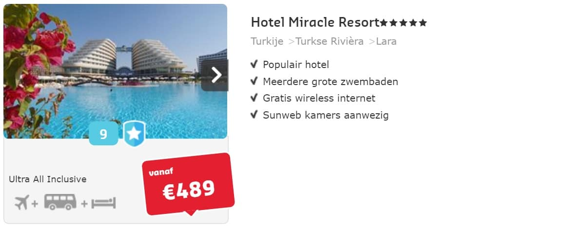 hotel miracle resort turkije